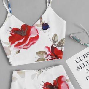 Zaful Other - Floral Cami Crop W/ Skort🌸